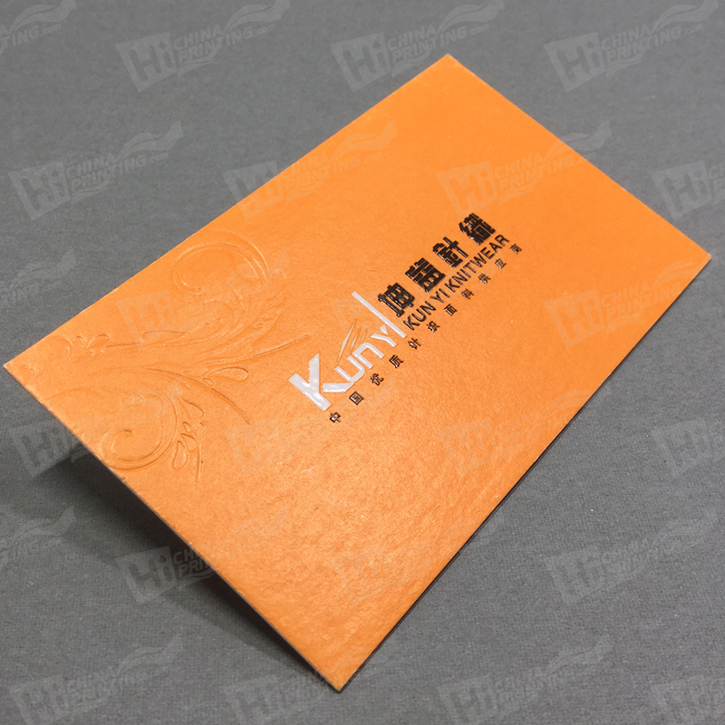 Blind Embossing and 2colors Raised Letters Business Cards Printed with Orange Pantone Colors